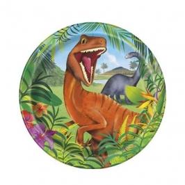 Juego de 8 Platos Dinosaurio 22 cm