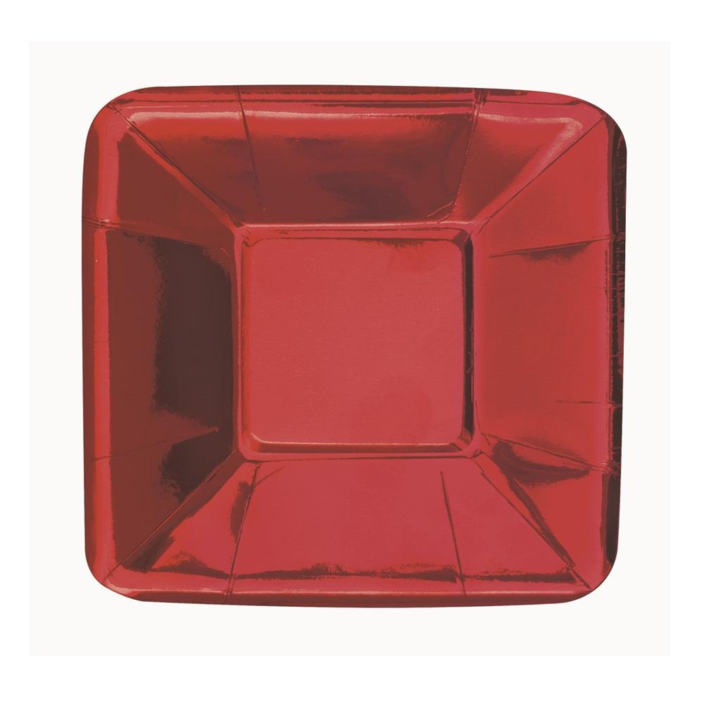 Platos para Aperitivos Rojo Metalizado 13 cm 8 ud
