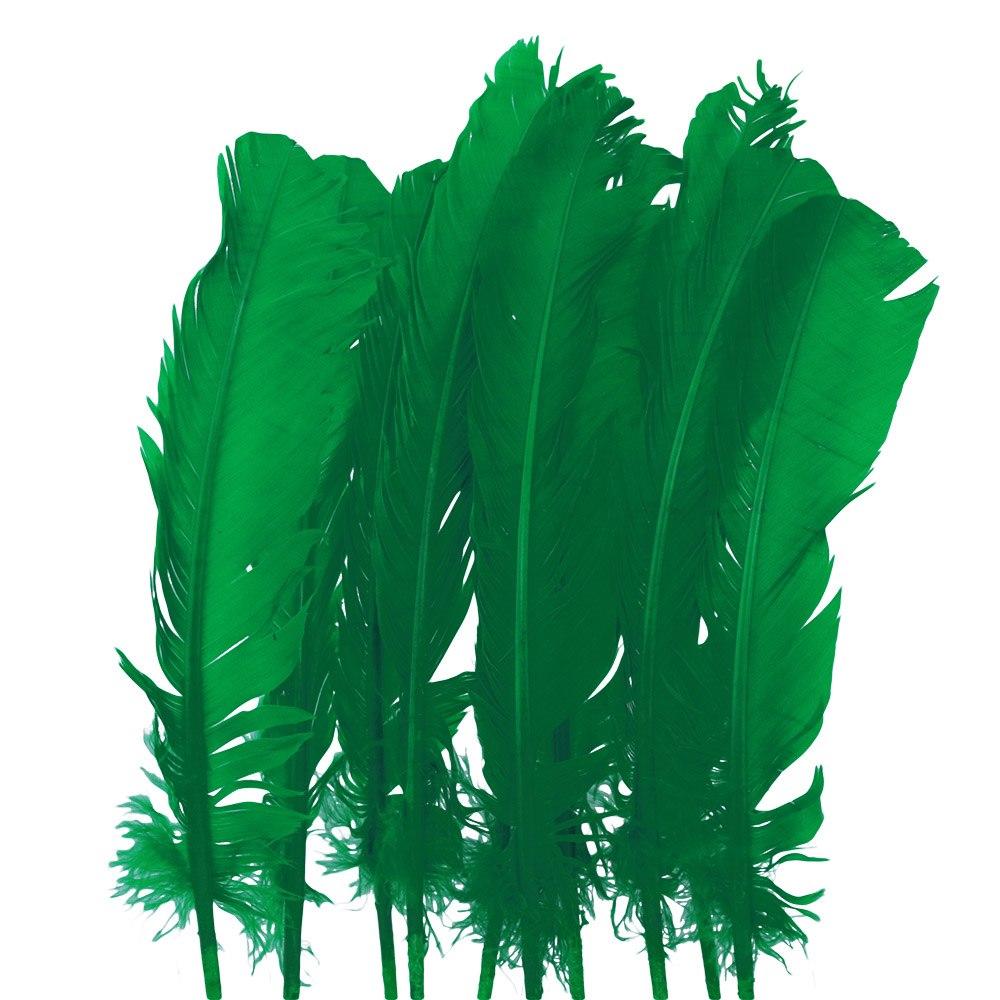 Juego de 10 Plumas Verdes 20 cm