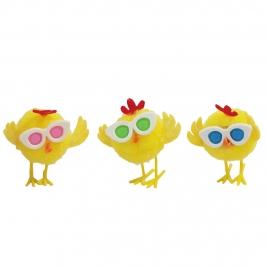 Juego de 3 Pollitos de Pascua con Gafas 4 cm
