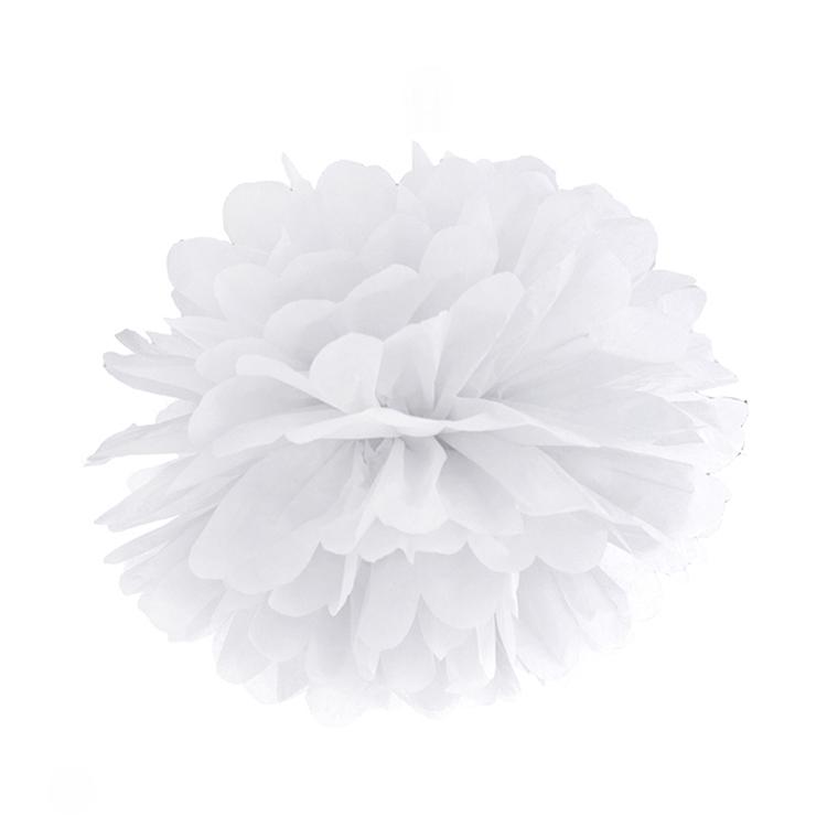 Pompon de Papel Color Blanco 25 cm
