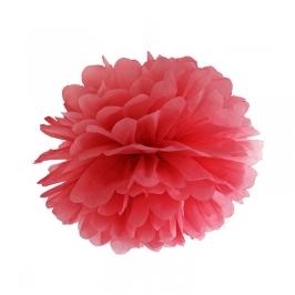 Pompon de Papel Color Rojo 25 cm