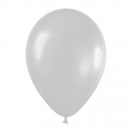 Pack de 10 globos de látex plata satinada