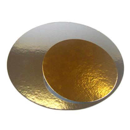 Base cartón para tarta plata/oro Redonda 30 cm