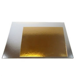 Base cuadrada para tartas plata/oro 20cm