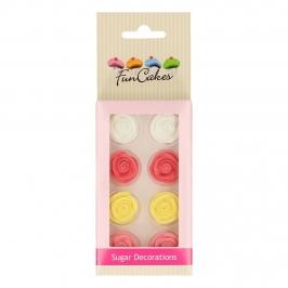 Rosas de Azúcar de Colores 8 ud