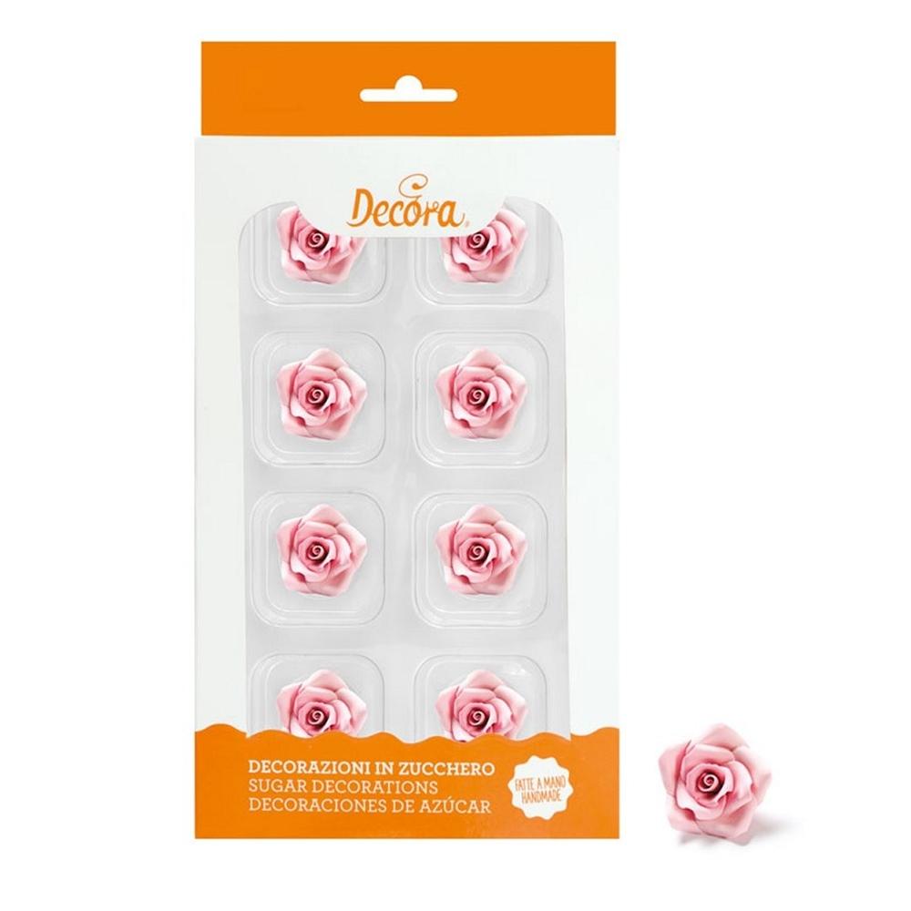 Rosas Rosas de Azúcar 8 ud - DECORA