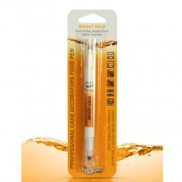 Rotulador comestible doble punta oro brillante