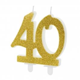 Vela 40 Cumpleaños Dorada