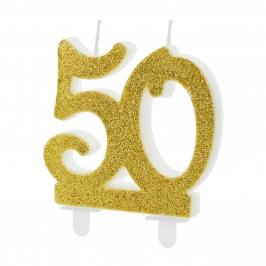 Vela 50 Cumpleaños Dorada