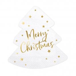 Servilletas Árbol de Navidad Blancas y Doradas 20 ud