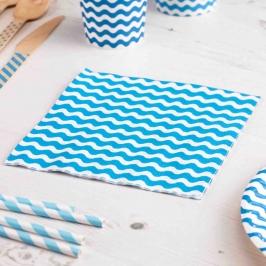 Servilletas Azules con Rayas Onduladas