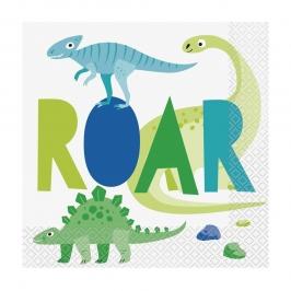Servilletas de Papel Dinosaurio Azul y Verde 16 ud