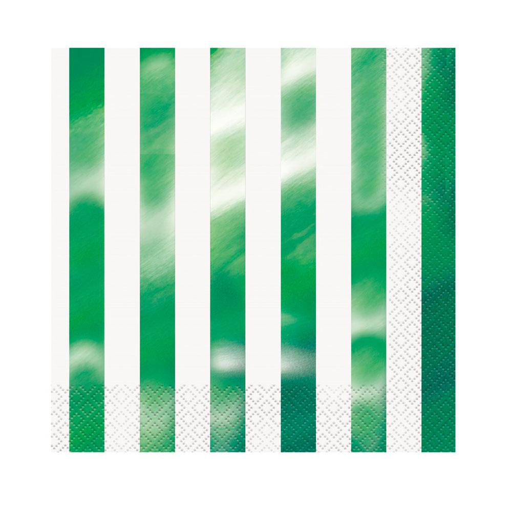Servilletas Rayas Verde Metalizado 16 ud