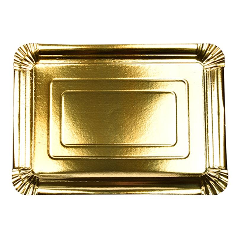 Set 10 Bandejas de Cartón Oro 33 cm x 24 cm