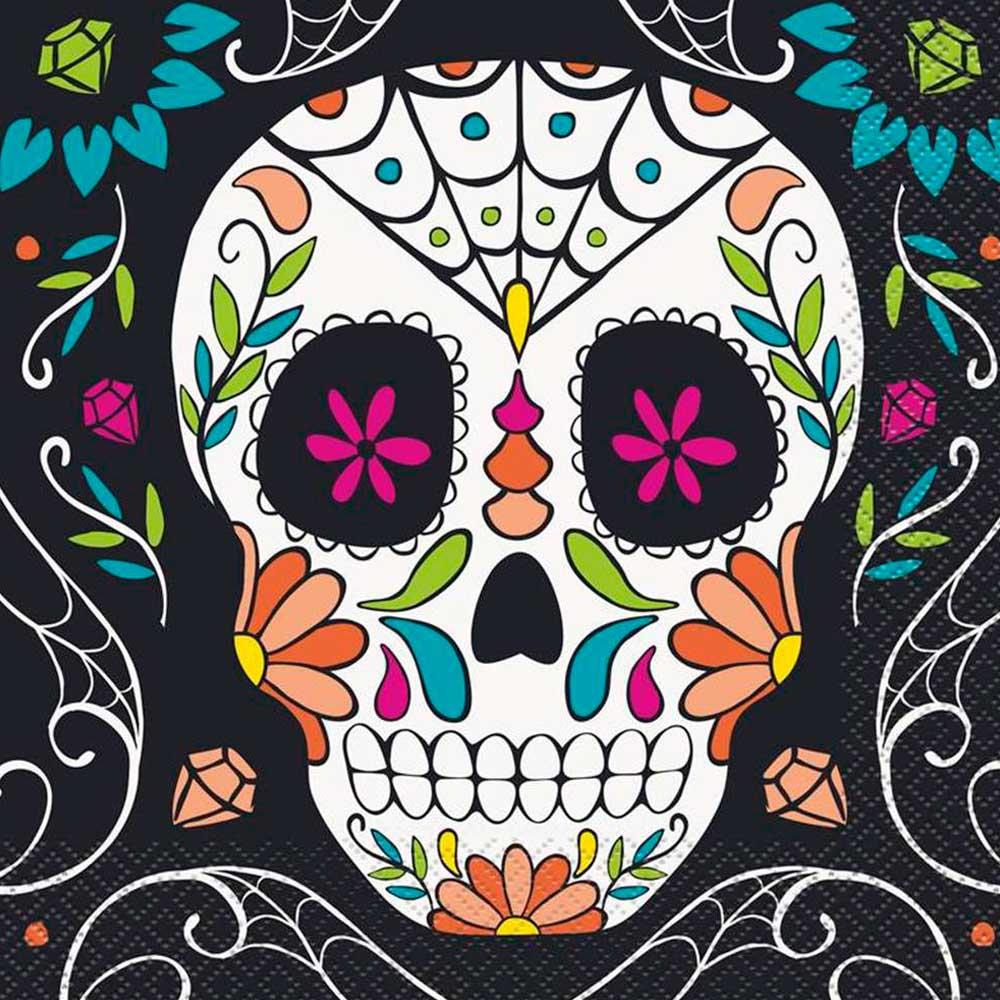 Set 16 Servilletas Día de Los Muertos