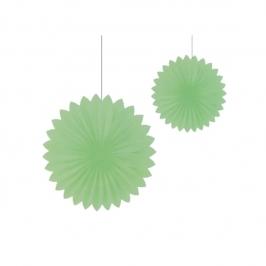 Set 2 Abanicos Verde Pastel de 30 cm