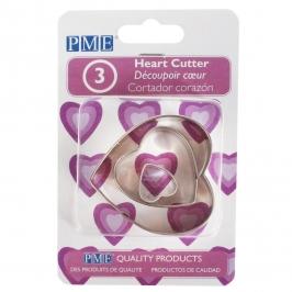 Set 3 Cortadores Corazón PME