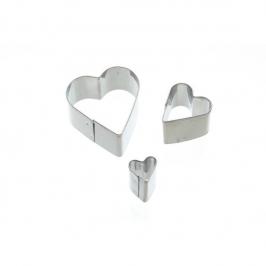 Juego de 3 mini cortadores corazón Kitchen Craft