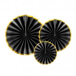 Set 3 Rosetas Decorativas Negro y Dorado