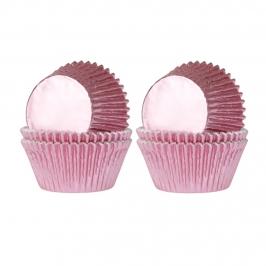 Set 36 mini cápsulas para cupcakes rosa claro brillante
