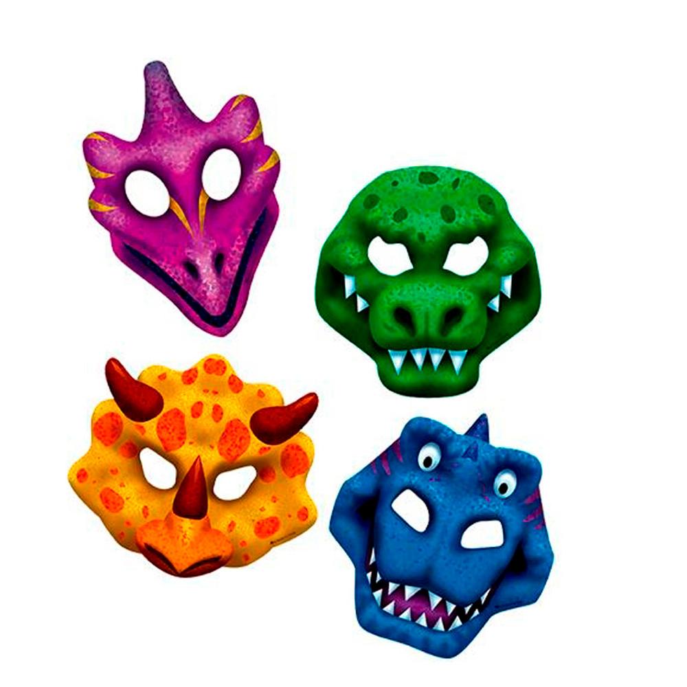 Set 4 Máscaras Dinosaurios