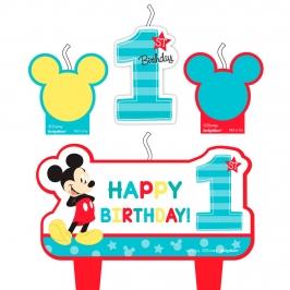 Set 4 velas Mickey Mouse primer cumpleaños