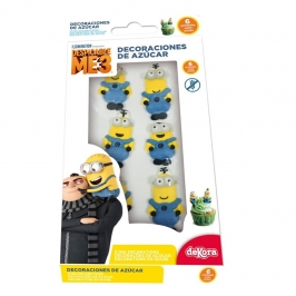 Set 6 Decoraciones Azúcar Minions