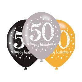 Set 6 Globos 50 años Brillantes