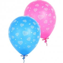 Set 6 globos Corazones impresos 23cm