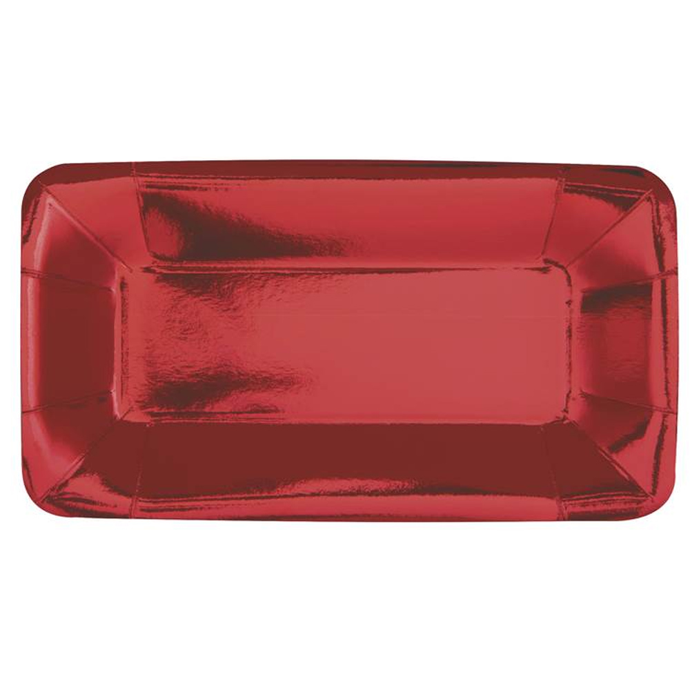 Set 8 Bandejas Rectangulares de Cartón Rojas