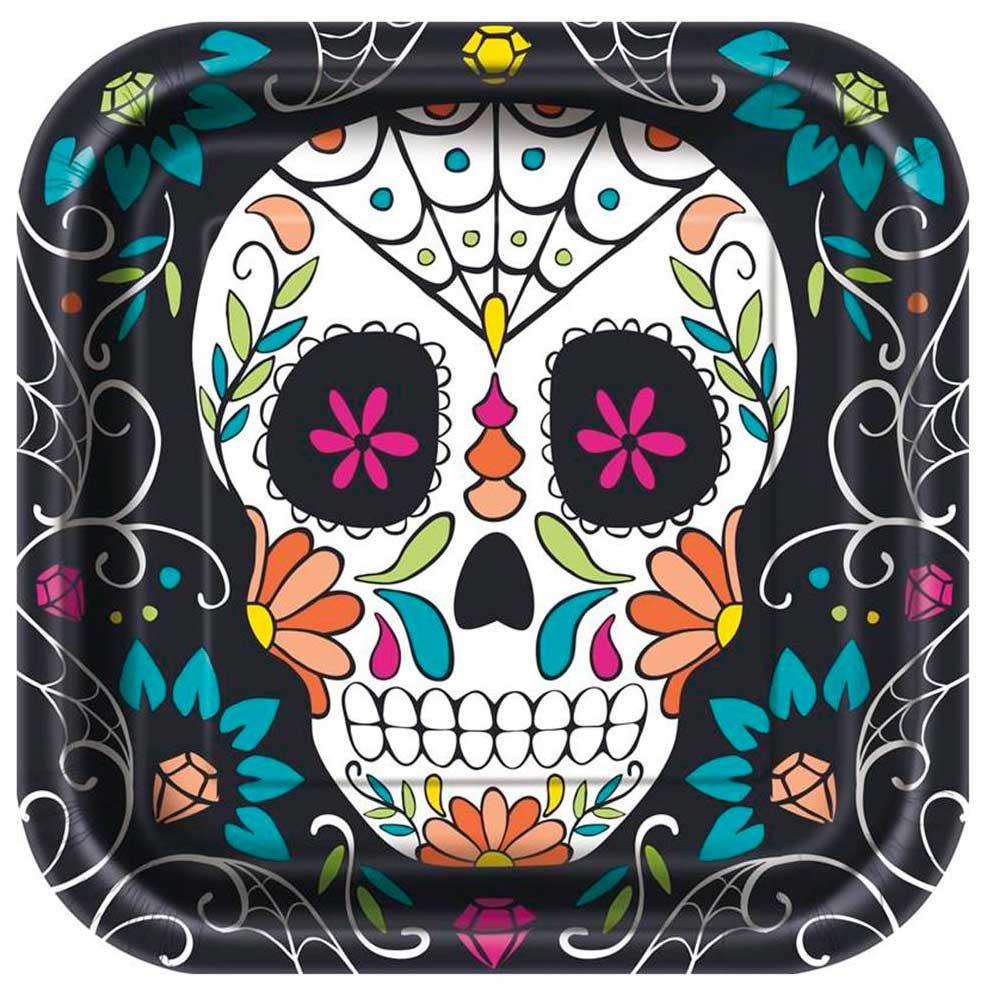 Set 8 Platos Día de los Muertos