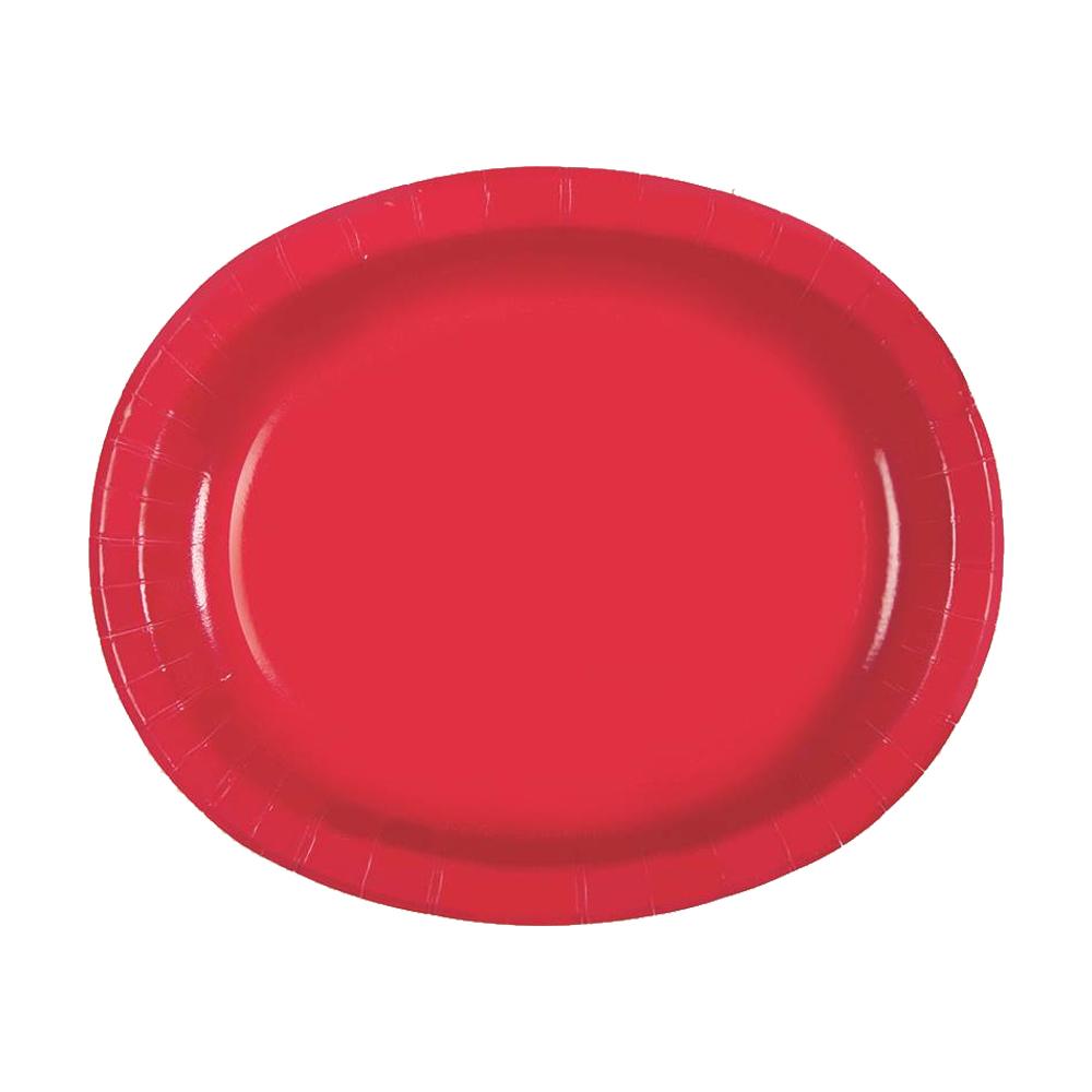 Set 8 Platos Ovalados Rojo Rubí 30 cm