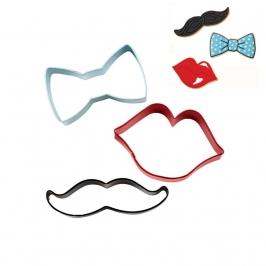 Set de 3 cortadores Labio, bigote y Pajarita