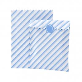 Set de 10 bolsitas azules y blancas para dulces