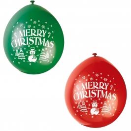 Set de 10 Globos Merry Christmas 23cm