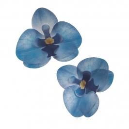 Set de 10 Orquídeas de Oblea Azules 8 cm