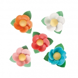 Set de 100 Flores de Oblea con Hoja 4,5 cm