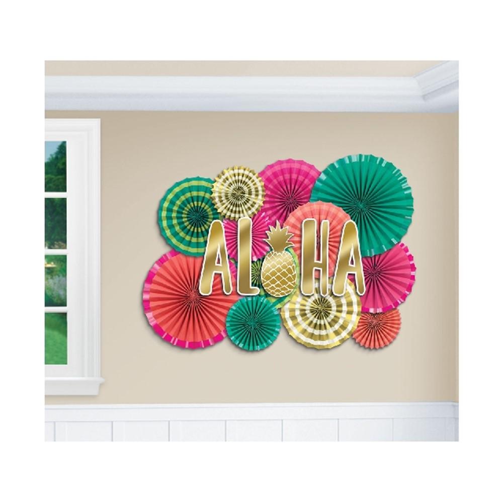 Set de 12 Abanicos Decorativos Aloha