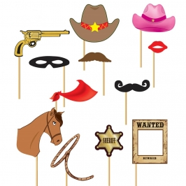 Set de 12 Accesorios para Photocall Cowboy