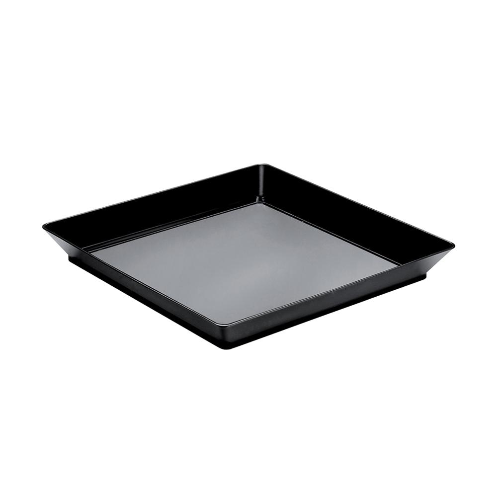 Set de 12 bandejas negras cuadradas de 13 cm