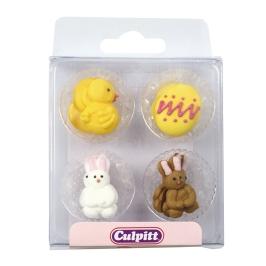 Set de 12 decoraciónes de azúcar Pascua
