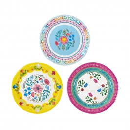 Set de 12 Platos Boho Mix Floral 22 cm