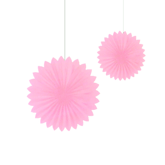 Set de 2 Abanicos Rosa Pastel de 30 cm