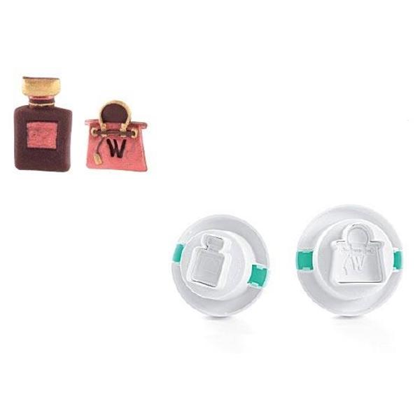 Set de 2 cortadores con expulsor Bolso y perfume 3D