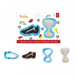 Set de 2 cortadores de plástico de un trofeo y una zapatilla de fútbol