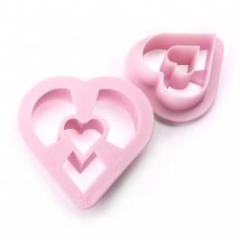 Set de 2 cortadores donuts corazón