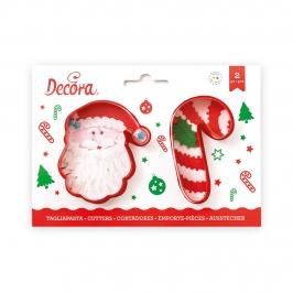 Set de 2 Cortadores Papá Noel y Bastón