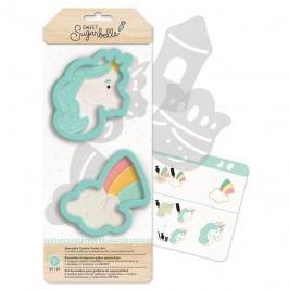 Set de 2 Cortadores Unicornio y Nube con plantillas