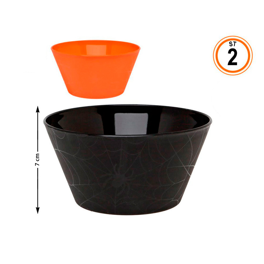 Set de 2 Cuencos Halloween Naranja y Negro